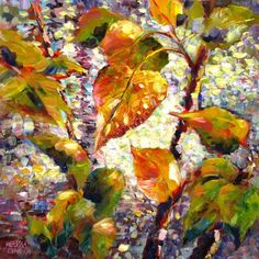 """Daily Paintworks - """"Leaves Overlooking Water"""" - Original Fine Art for Sale - © Melissa Gannon"""
