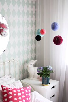 harlequin wallpaper by ferm living Home Decor Bedroom, Kids Bedroom, Living Room Decor, Bedroom Stuff, Dream Bedroom, Harlequin Wallpaper, 21st Century Homes, Deco Kids, Exposed Brick Walls