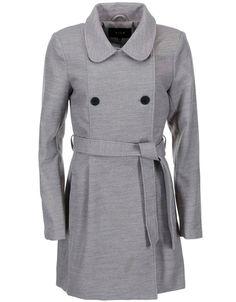 VILA - Šedý dlouhý kabát  Kimra - 1