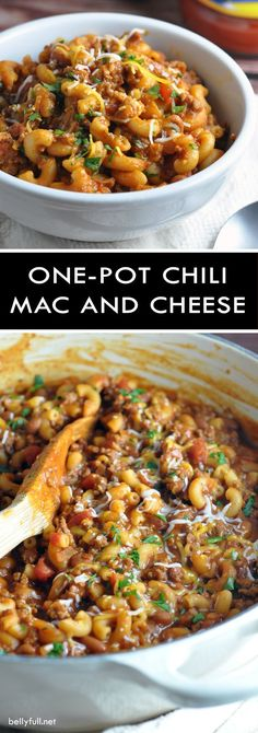 One Pot Chili Mac and Cheese - two favorite comfort foods come together in this super easy, one-pot dish that the whole family will go crazy for! comfort food One Pot Chili Mac and Cheese Chili Mac Recipe, Chili Recipes, Chili Mac Crockpot, Healthy Recipes, Yummy Recipes, Fast Recipes, One Pot Recipes, Easy Homemade Recipes, Budget Recipes