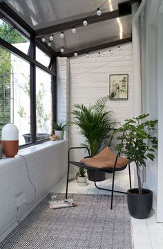 botanical, scandi sun room makeover, sunroom makeover, minimalist sunroom, garden room, Scandinavian sunroom how to bring the outdoors in and great monochrome palette too.