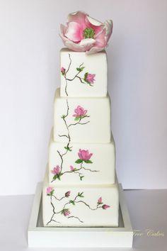 Tarta de boda - Wedding Cake - Hand Painted Magnolia wedding cake with hand crafted sugar Magnolia~ all edible Square Wedding Cakes, Elegant Wedding Cakes, Elegant Cakes, Beautiful Wedding Cakes, Gorgeous Cakes, Pretty Cakes, Amazing Cakes, Cupcakes, Cupcake Cakes