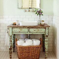 Farmhouse chic bathroom shabby chic bathroom vanity unit new cottage farmhouse Rustic Bathroom Vanities, Vintage Bathrooms, White Bathroom, Modern Bathroom, Small Bathroom, Bathroom Ideas, Chic Bathrooms, Bathroom Renovations, Dresser Vanity Bathroom