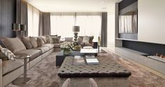 Flexform's Groundpiece sectional, Boss armchair, Fly table and Oliver side table can be seen in this sophisticated home in Antwerp, by Byron & Jones Interiors.  #flexform #interior #furniture #sofa #sectional #design #interiordesign #chic #sophisticated #neutral