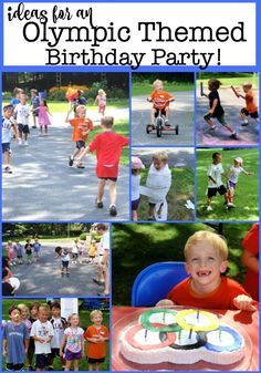An Olympic themed party is a great idea to celebrate a birthday! This post will give you everything you need- free printable invitations and thank you notes, ideas for Olympic party games, Olympic party favors, the cake- and more! An Olympic theme Birthday Party At Home, Outdoor Birthday, Birthday Themes For Boys, Kids Party Themes, Birthday Party Games, Birthday Party Decorations, Party Ideas, Birthday Ideas, Birthday Cakes