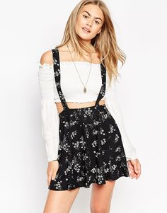 Image 1 of ASOS Skater Skirt With Suspenders In Floral Print
