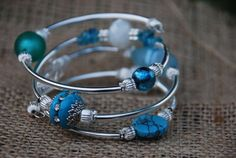 Multi shades of blue memory wire bracelet by TheMajesticElephant, $25.00