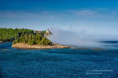 Split Rock Lighthouse, Lake Superior North Shore, Fog, Spring, Landscape Photography, Fine Art Print, Blue Green, Panorama Print, Minnesota