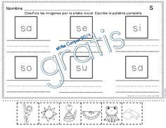 FREE - Fichas para S y las silabas sa se si so su - gratis - silabas iniciales