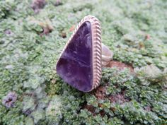 Statement ring, amethyst, with twisted silver wire....size 8 #224 by Sandy River Jewelry