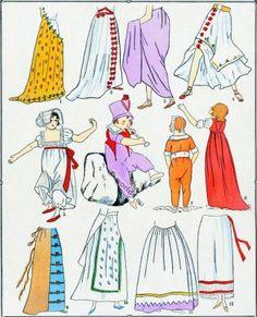 French revolution skirt fashion 1792-1799.  L'HISTOIRE DU COSTUME FÉMININ FRANCAIS. JUPES. RÉVOLUTION. – Planche 7.