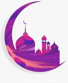 Vector painted purple moon and Islam Mosque, Vector, Hand Painted, Moon PNG and Vector Eid Crafts, Ramadan Crafts, Islamic Images, Islamic Pictures, Fest Des Fastenbrechens, Decoraciones Ramadan, Mosque Vector, Motif Oriental, Ramadan Activities
