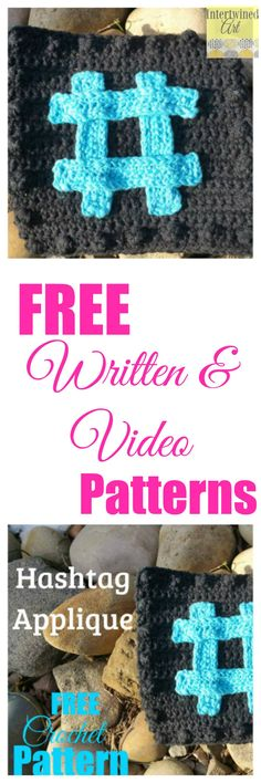 """Free written pattern and video tutorial. """"Like a Boss"""" Blanket Series Crochet Hashtag Square Pattern."""