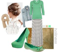 Jean Jacket,Mint Green Top, Stripe Long Skirt And Mint Green High Heels And Flat Shoes