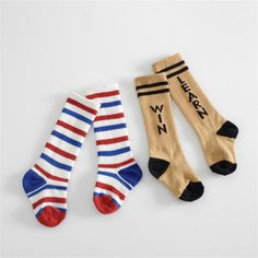 Cute Baby Socks Letter Kid Knee High Socks Cotton Multi Colored Striped  Socks Long Rainbow Boys 719c9367edc4