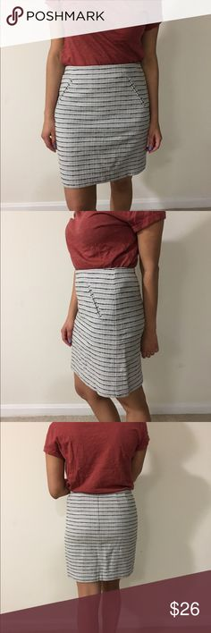 LOFT Skirt Blue, blue and white striped skirt.. hits right above the knee. Worn once! LOFT Skirts