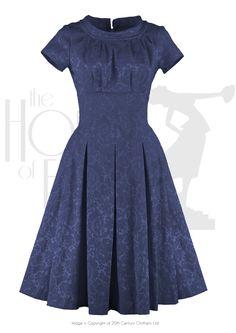 50s Dresses, Pinup Dresses, Swing Dresses La Rosa 50s Cocktail Dress - royal brocade £128.00 AT vintagedancer.com