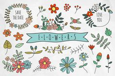 Hand drawn flowers and wreaths by redchocolate on Creative Market