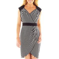 Worthington® Striped Faux-Wrap Dress - jcpenney