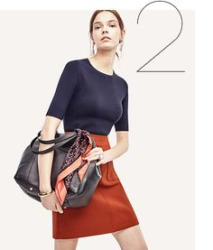 Dressy casual/ business casual; fall. (navy blue Crew Neck Topper, southwest clay Double Pocket Skirt, black Olive Suede Pumps, black Buckle Leather Tote, dusty orchid Geo Mini Silk Scarf, Mixed Charm Earrings) <Ann Taylor's Must Have Looks—Our Edit On The Season; Fall 2016>