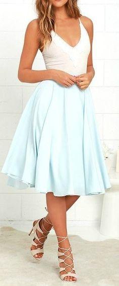 #casual #outfits #street #style #fashion #inspiration | White Bodysuit + Baby Blue Midi Skirt
