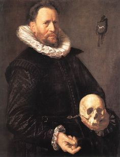 Frans Hals, 1581-1666 Portrait of a Man Holding a Skull, 1611. Housed at The Barber Institute of Fine Arts, Birmingham, UK - Another of Hals distinguished paintings.