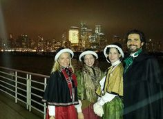 Olde Towne Carolers with the Manhattan skyline in the background after singing at the Newport Tree Lighting in Jersey City. #OldeTowneCaroler #Carolers #Victorian Carolers