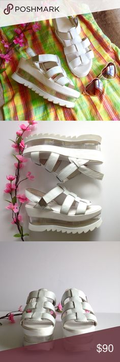 "Ricky Sarkany 'Floating' Platform Sandals Adorable Argentinian designer Ricky Sarkany platform sandals in white pebbled leather, features gladiator style upper, velcro strap closure, shark teeth style soles, 3"" flatforms and clear plastic platform for a cool floating illusion! Good used condition, some wear as pictured, size Argentina 37 
