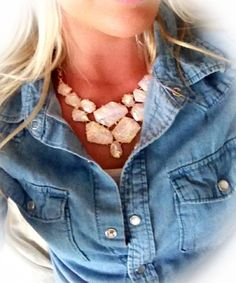 Jean shirt chunky necklace