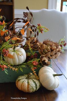 Fall Centerpiece in Antique Tool Caddy