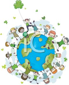 Earth Day Clipart - Kids Dancing on the Earth