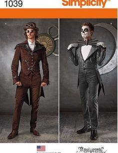 PATTERN-SIMPLICITY-1039-Mens-SteamPunk-Coat-With-Tails-Jack-Skellington-38-52