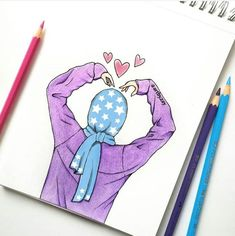 Cute Drawings, Drawing Sketches, Pencil Drawings, Hijab Drawing, Islamic Cartoon, Anime Muslim, Hijab Cartoon, Islamic Girl, Cute Cartoon Wallpapers