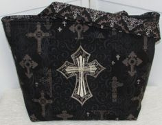 Gothic Ornate Cross Large Tote Bag  / Damask by Mokadesigntotes, $38.00