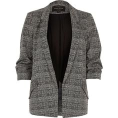 River Island Black check blazer (6.730 RUB) ❤ liked on Polyvore featuring outerwear, jackets, blazers, black, coats / jackets, women, checked jacket, river island, tall jackets and river island jacket