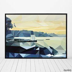 Plakat - Dansk landskab, geometrisk. No.1