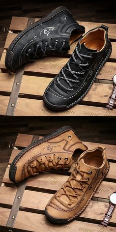 Prelesty Big Size Modern Handsome Cool Winter Men Ankle Boots Shoes Vintage Premium Genuine Leather - Men's style, accessories, mens fashion trends 2020 Mens Snow Boots, Mens Ankle Boots, Men Boots, Dressy Shoes, Casual Shoes, Men Casual, Leather Men, Leather Shoes, Real Leather