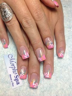 Floral and Colored French tips mani Rosado blanco amarillo Nail Tip Designs, Fingernail Designs, French Nail Designs, Nail Polish Designs, Diy Nails, Cute Nails, Manicure, French Nail Art, French Tip Nails