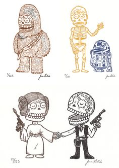 Jose Pulido Day of the Dead Star Wars...I'm in love with the Artoo and C3PO one.