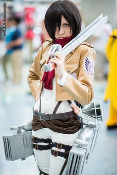 Mikasa Ackerman #cosplay from Attack on Titan | Anime Expo 2013 | http://www.crunchyroll.com/attack-on-titan