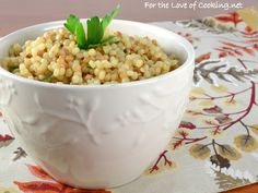 Garlicky Israeli Couscous Recipe Side Dishes with chicken broth, olive oil, pearl couscous, crushed red pepper flakes, garlic