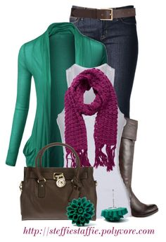 """""""Emerald Green & Raspberry"""" by steffiestaffie ❤ liked on Polyvore featuring Hudson Jeans, Doublju, GUESS, Pieces, Barneys New York and MICHAEL Michael Kors"""