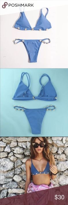 Blue seashell bikini The cutest suit for 2017. Super trendy. Good quality. Triangle style. Pre order 1-3 weeks you will receive :) awesome bikini! I bought 3 ask about other colors :) not acacia just for exposure. I'm a boutique acacia swimwear Swim Bikinis