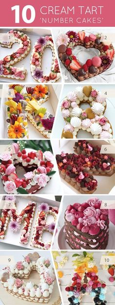 "10 Cream Tart ""Number Cakes"" - Kochrezepte Dessert Tatlı - For Life Food Food Cakes, Cupcake Cakes, Candy Cakes, Beautiful Cakes, Amazing Cakes, Cake Lettering, Number Cakes, Number Birthday Cakes, Number One Cake"