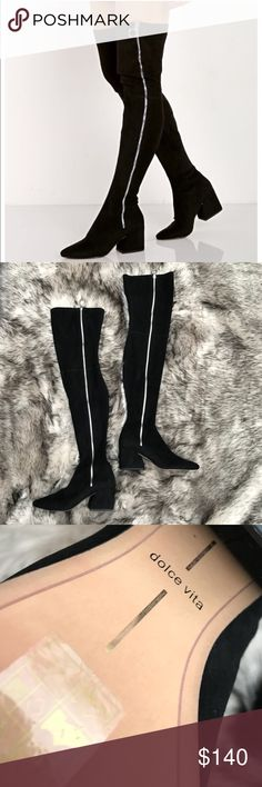 "NWOB SIZE 9 DOLCE VITA HEELS Dolce Vita Vix Zip-Up Over The Knee Boots will let 'em know who's in charge. These over-the-knee boots have an outside zipper closure and chunky heels. Product Details Black Genuine Suede Size & Fit 26.5"" Shaft Dolce Vita Shoes Over the Knee Boots"