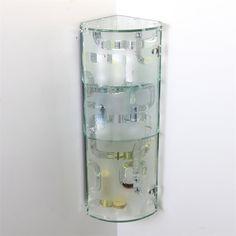 CRYSTAL GREY BATHROOM CORNER WALL MOUNTED GLASS STORAGE CABINET ...