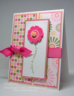 handmade card ... hot pink die cut flower and ribbon tied in a perfect knot..,. sentiment placed like a stem ... pretty print papers ... SCS Sketch Challenge 241 ... Stampin' Up!