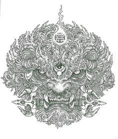 Chinese Lion by Subliquida Project, via Behance Foo Dog Tattoo, Lion Tattoo, Body Art Tattoos, Tattoo Drawings, Sleeve Tattoos, Cave Drawings, Japanese Tattoo Art, Japanese Art, Raijin Tattoo