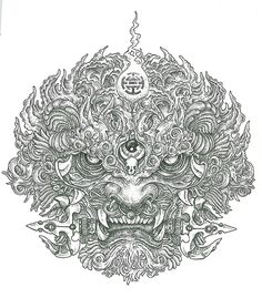 Chinese lion iconrapidograph on Fabriano paper30x40 cmBerlin 2013