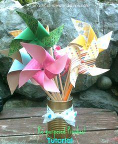 PINWHEELS - What You'll Need :  lightweight paper for good twirling action   one tack  map pins (you can use regular tacks but these are prettier and made more tacks)  chopsticks (re-purposed) or dowels  scissors.  http://practical-stewardship.com/2012/06/22/repurposed-paper-pinwheel-tutorial/#